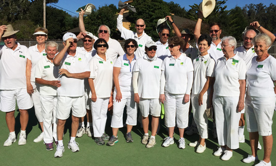 Fresno lawn bowls team competing on the road